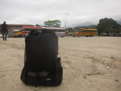 backpack at a bus station in Gracias, Honduras