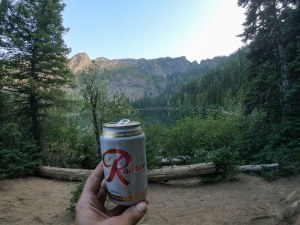 My gifted Rainier beer on my 'balcony.'