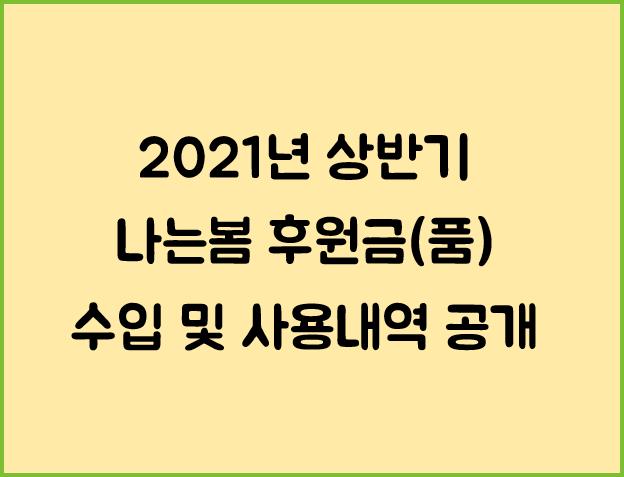 2021년 나는봄 상반기 후원금(품) 수입 및 사용내역 공개