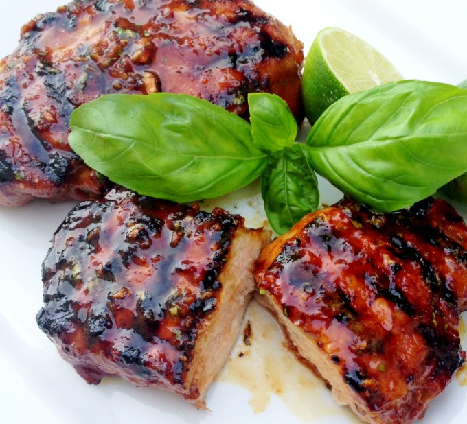 Grilled Pork Chops with Thai Honey Lime Marinade #pork #grilling