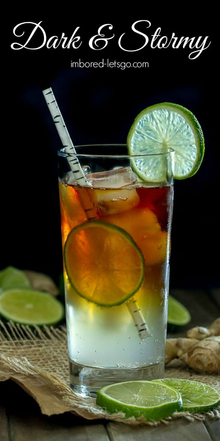 Dark and Stormy. A delicious cocktail made with dark rum (Goslings is traditional but use your favorite) and ginger beer. Add a squeeze of lime and enjoy!