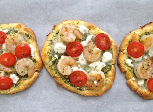 Oopsie Bread w/Pesto, Shrimp, Goat Cheese