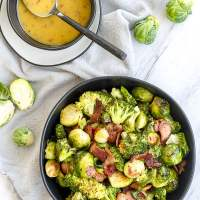 Roasted Brussels Sprouts & Broccoli with Maple Dijon Vinaigrette