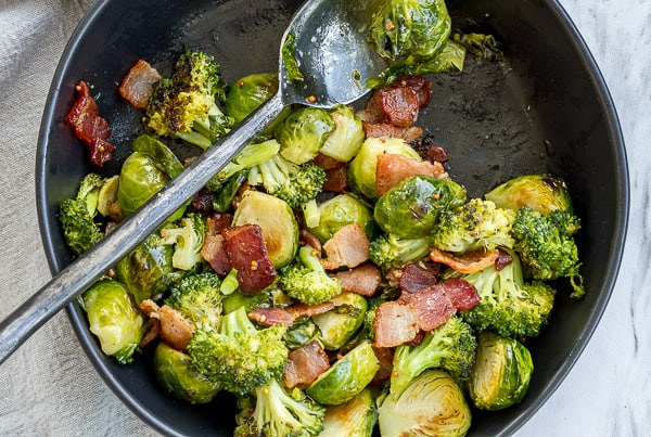 Roasted Brussels Sprouts and Broccoli with Maple Dijon Vinaigrette