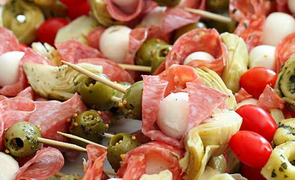 Pile Antipasto Skewers on a platter for a great party appetizer