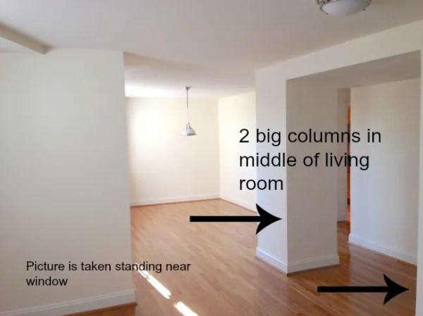Columns in middle of living room