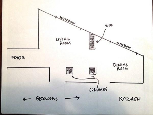Awkward living room floor plan