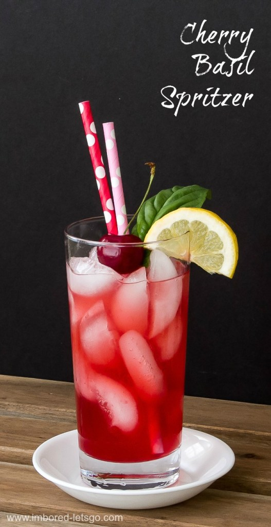 Cherry Basil Spritzer - easily made with or without alcohol
