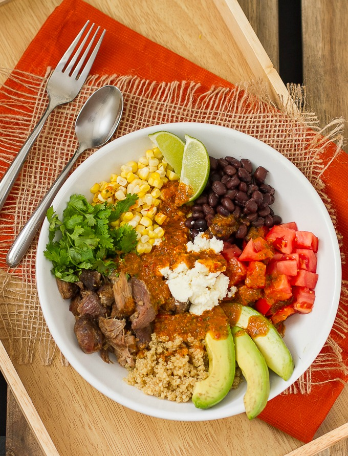 Mexican Quinoa Bowl with Carnitas & Chipotle Honey Lime Vinaigrette #mexican #quiona #healthy