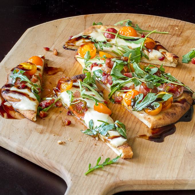 Tomato, Mozzarella & Arugula Naan Pizza with Balsamic Glaze