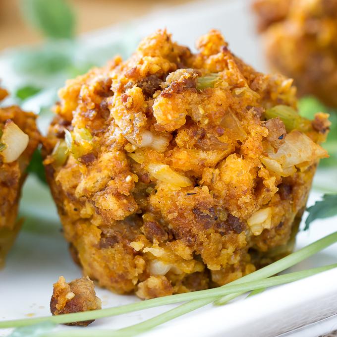 Individual Cornbread Chorizo Stuffing Muffin