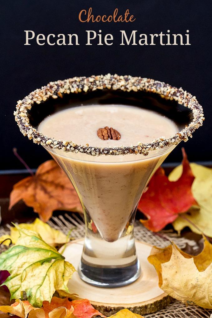 Pecan Pie Martini with Chocolate Pecan Rim