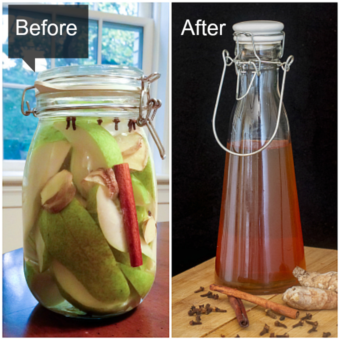 Infused Spiced Pear Vodka Before & After