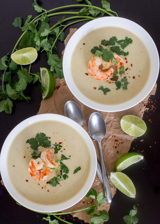 This is an amazing Thai Coconut Curry Cauliflower Soup with Shrimp recipe