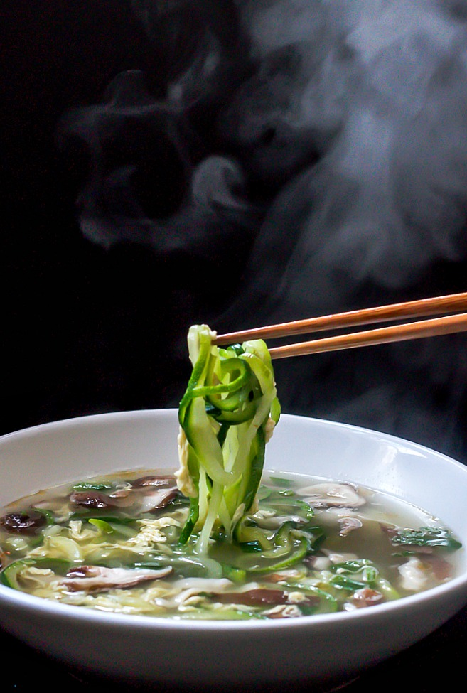 Ginger Scallion Egg Drop Soup with Zucchini Noodles and Shiitake Mushrooms