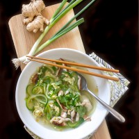 Egg Drop Soup with Zucchini Noodles (Zoodles) and Shitake Mushrooms in a delicious Ginger Scallion Broth