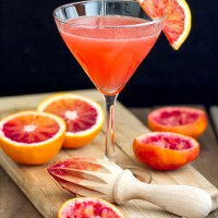 Blood Orange Martini with pear vodka, ginger liqueur and limoncello
