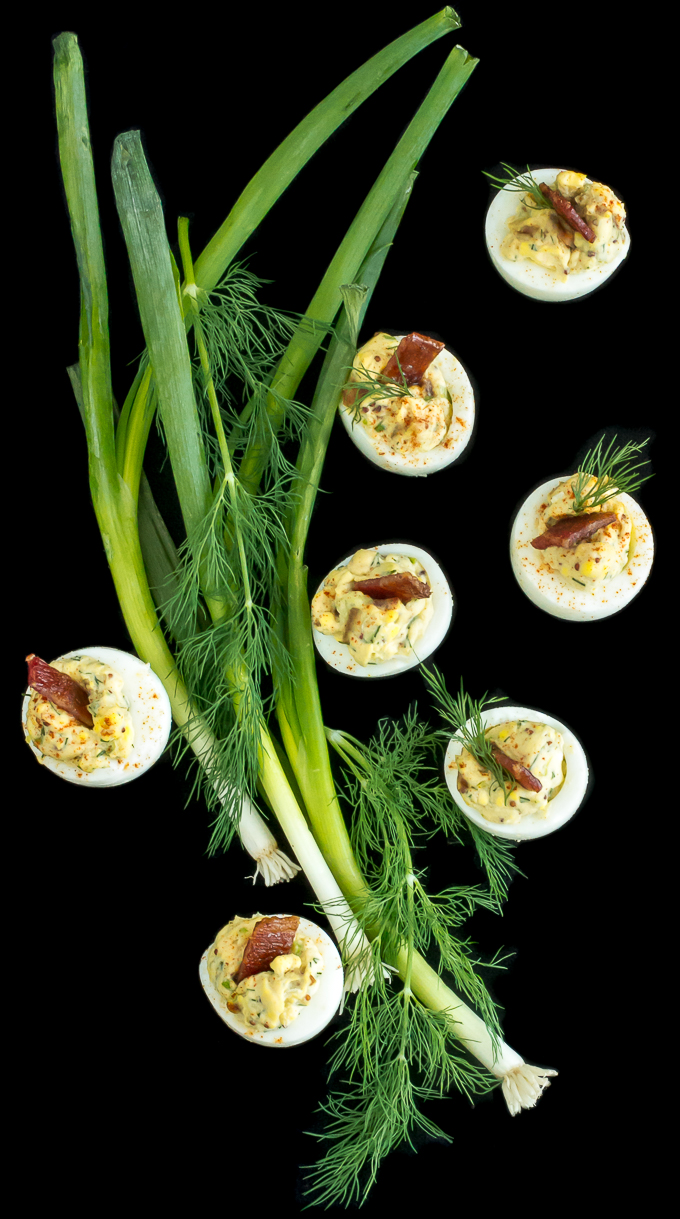 Candied Bacon Deviled Eggs