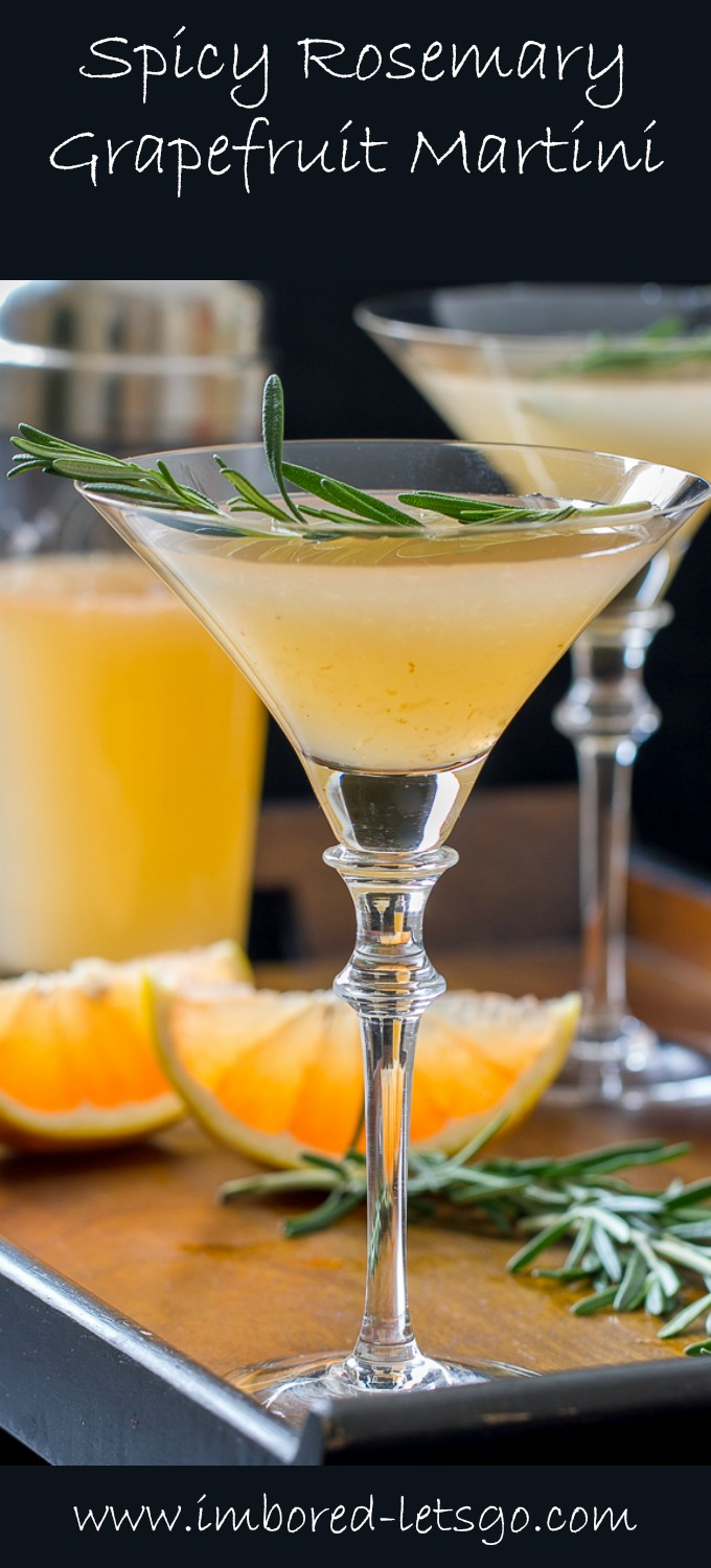A yummy Spicy Rosemary Grapefruit Martini with herbal tones and a spicy kick!