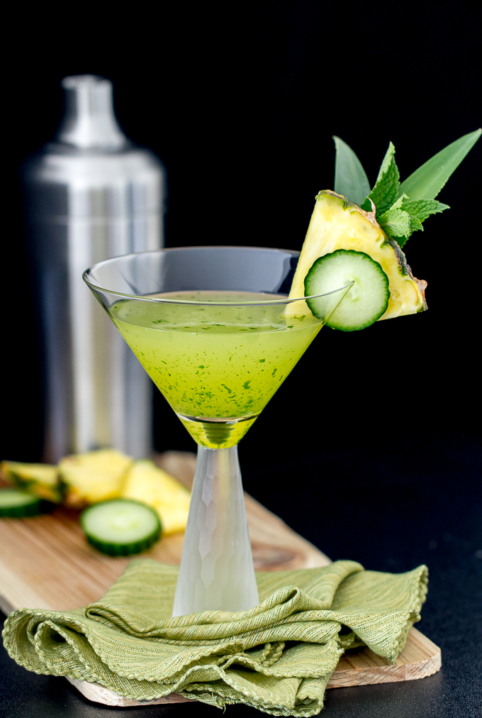 Cucumber Pineapple Mint Martini with cucumber vodka, pineapple juice and other good stuff!