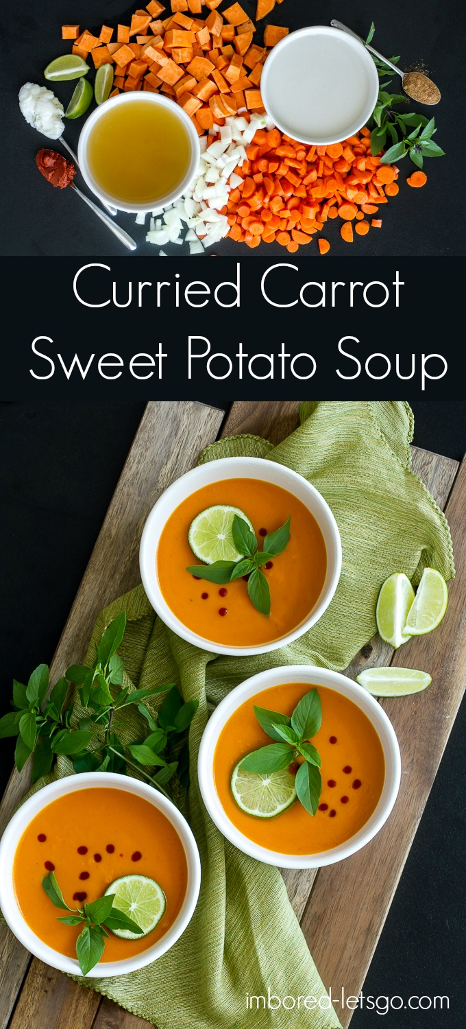 Curry Carrot & Sweet Potato Soup, creamy & delicious! Made with red curry paste and coconut milk.