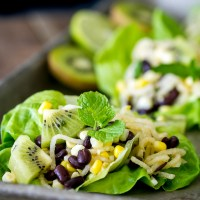 Jicama Kiwi Corn & Black Bean Lettuce Wraps with Honey Mint Dressing