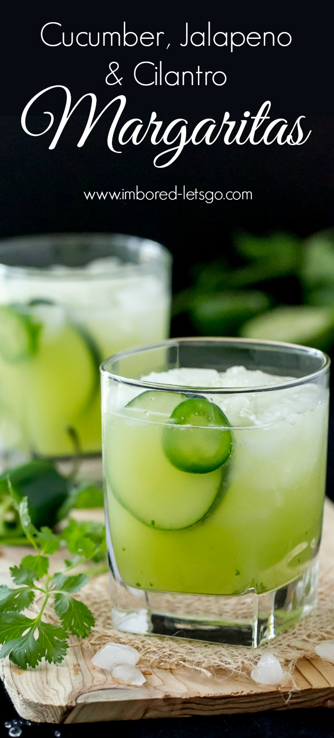 These Cucumber Jalapeño Cilantro Margaritas are made with fresh cucumber juice (so easy to make), a slice of jalapeño muddled with some cilantro and of course tequila! Really, really good!