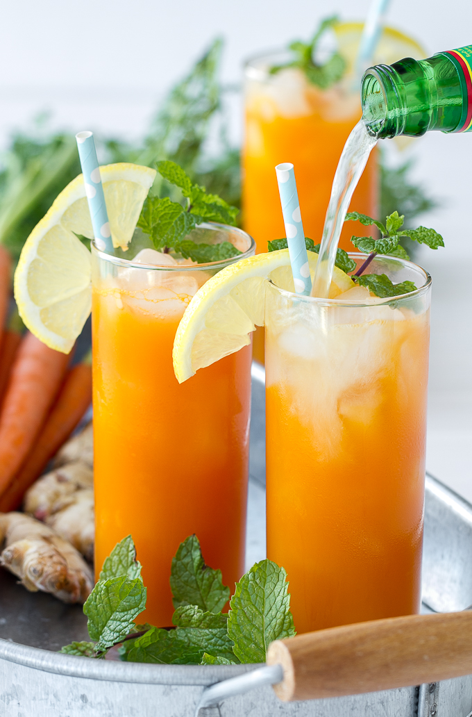 """Fresh carrot juice, ginger, mint and ginger beer combine to make a delicious and refreshing cooler. This cocktail can be made a """"mocktail"""" just omit the booze!"""