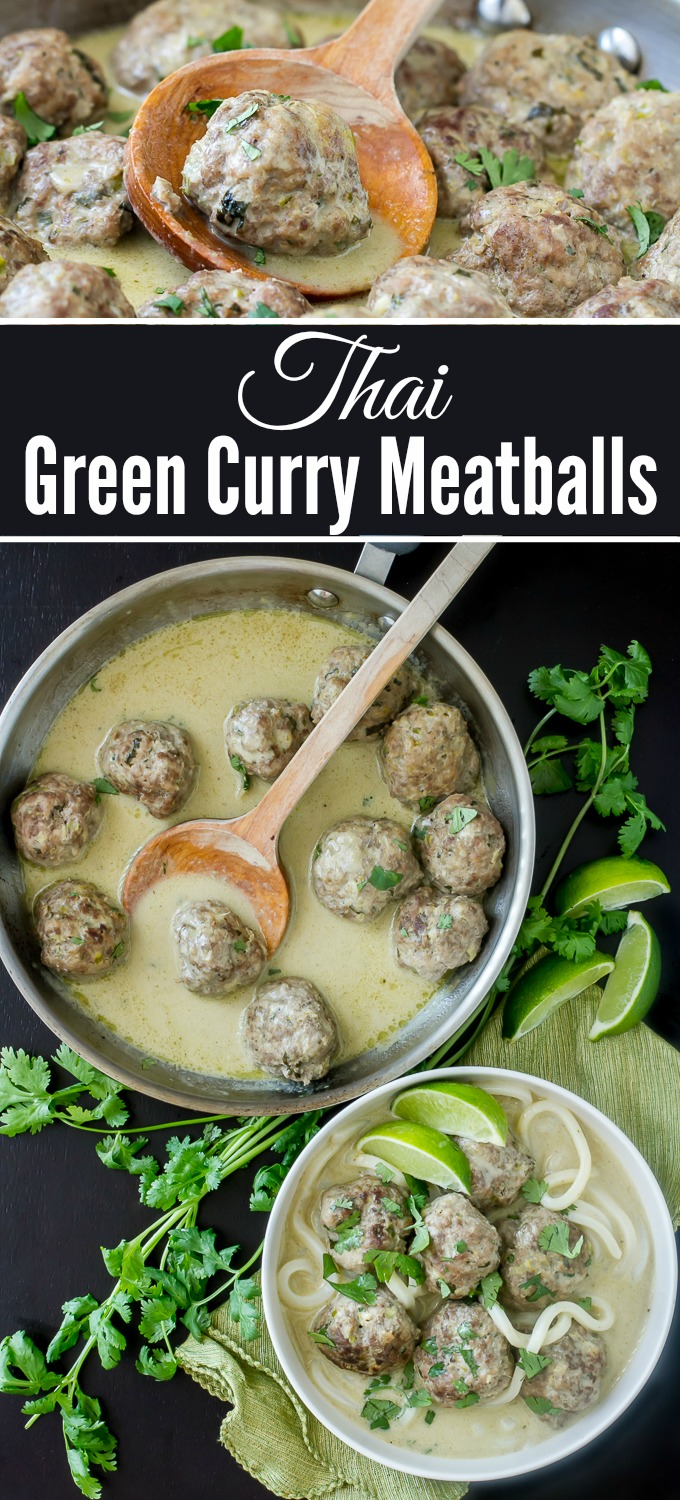 Thai Green Curry Meatballs are simple to make and full of flavor.  Made with store bought green curry paste and coconut milk, this sauce is fantastic and the meatballs are delicious!
