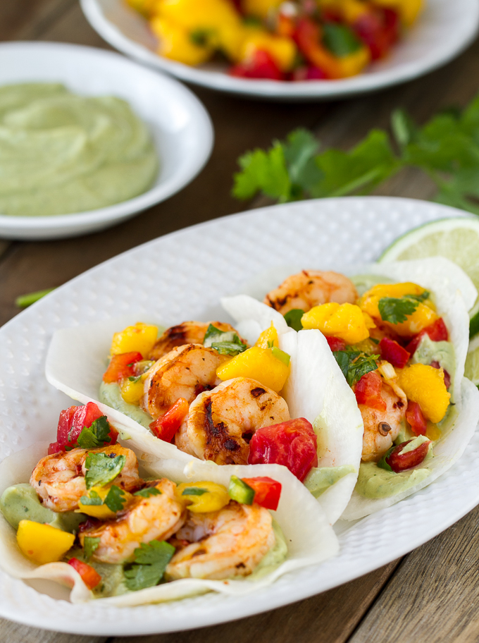 Grilled Chipotle Shrimp Jicama Street Tacos