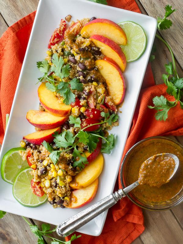 Southwestern Quinoa Salad with black beans, corn, peaches and chipotle vinaigrette