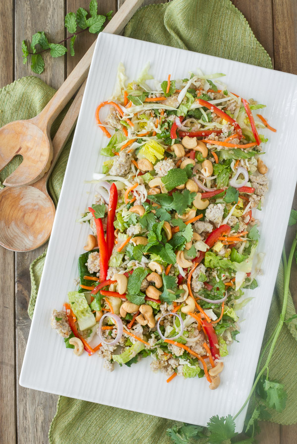 Thai Pork Quinoa Salad is a healthy main dish salad full of delicious Thai flavor and perfect for when you want a satisfying, yet light meal.