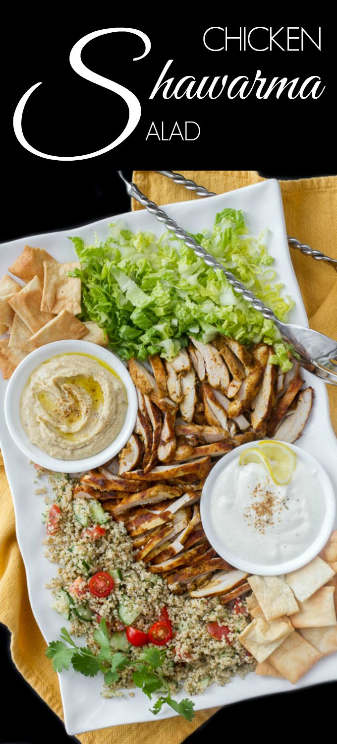 Chicken grilled in shawarma marinade, then grilled. Served with tabbouleh, hummus, a creamy garlic white sauce and pita chips.