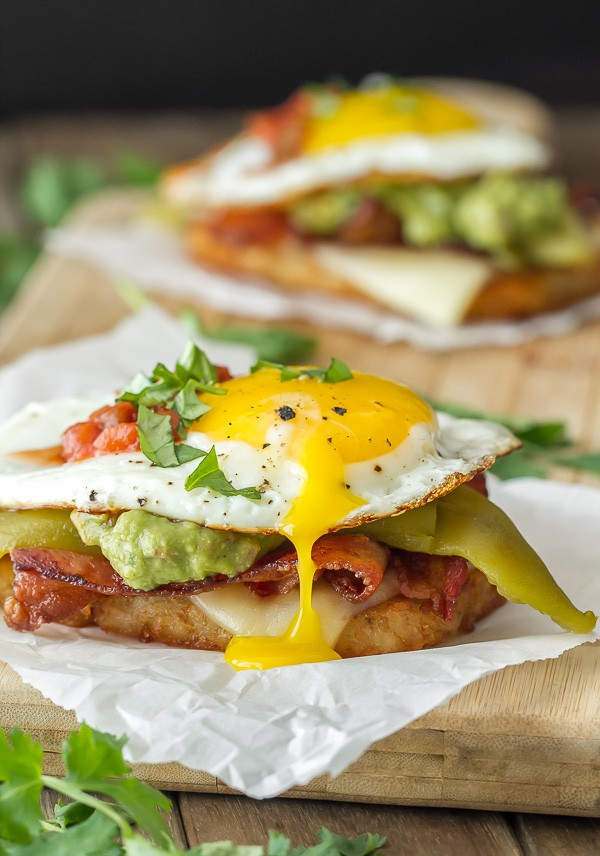 Southwestern Breakfast Stack: hash browns, cheese, bacon, chili, and a fried egg