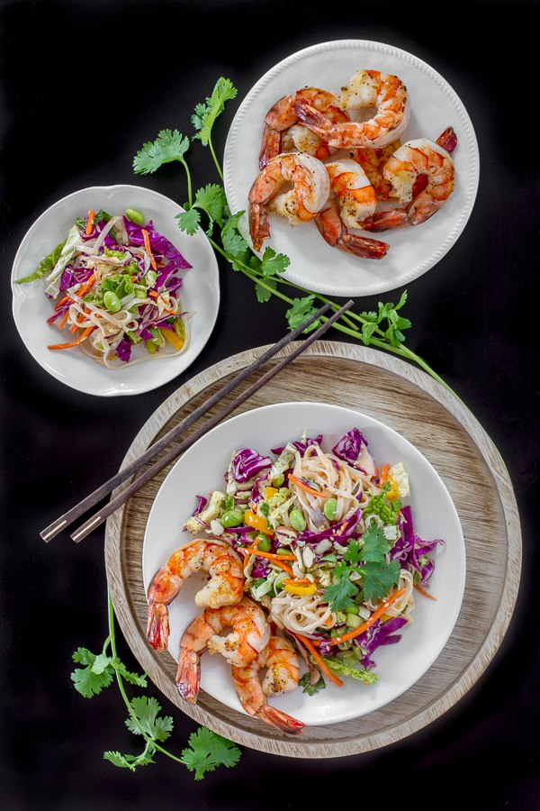 Ginger Miso Slaw with Edamame, rice noodles and shrimp