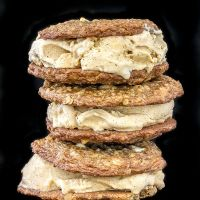 Thin, soft & chewy oatmeal cookies with pumpkin spiced ice cream sandwiched in between.