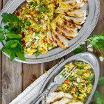 Curried Couscous Salad with Ginger Lime Dressing and grilled chicken