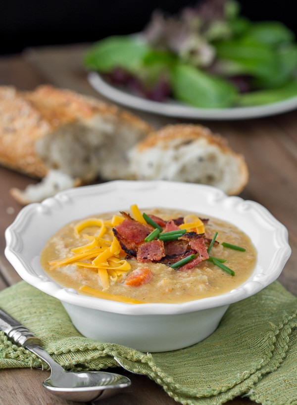 Smokey Cauliflower Chowder is low carb, full of smokey flavor and delicious!