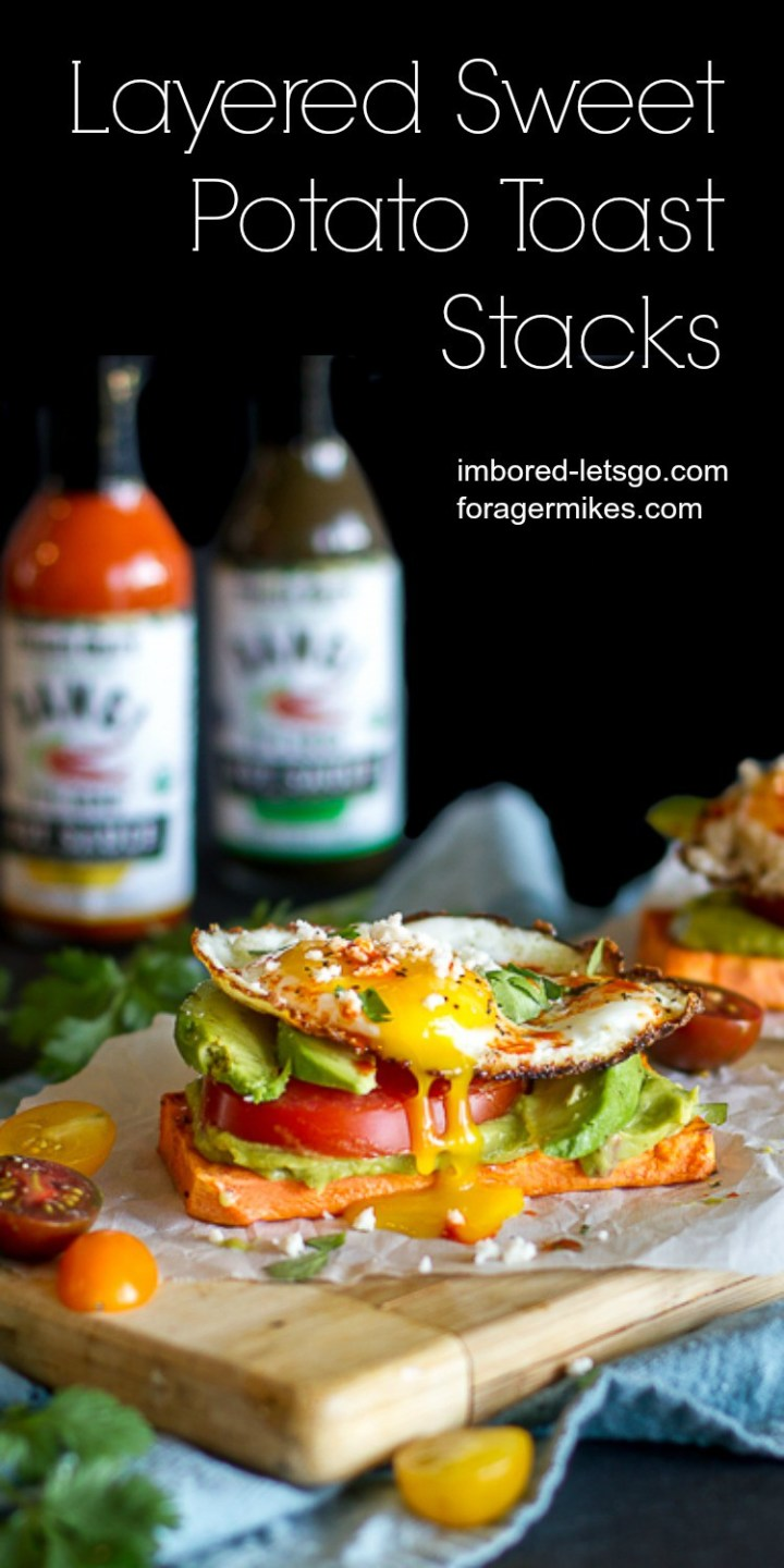 Layered Sweet Potato Toast Stacks topped with avocado, tomato, fried egg and hot sauce!