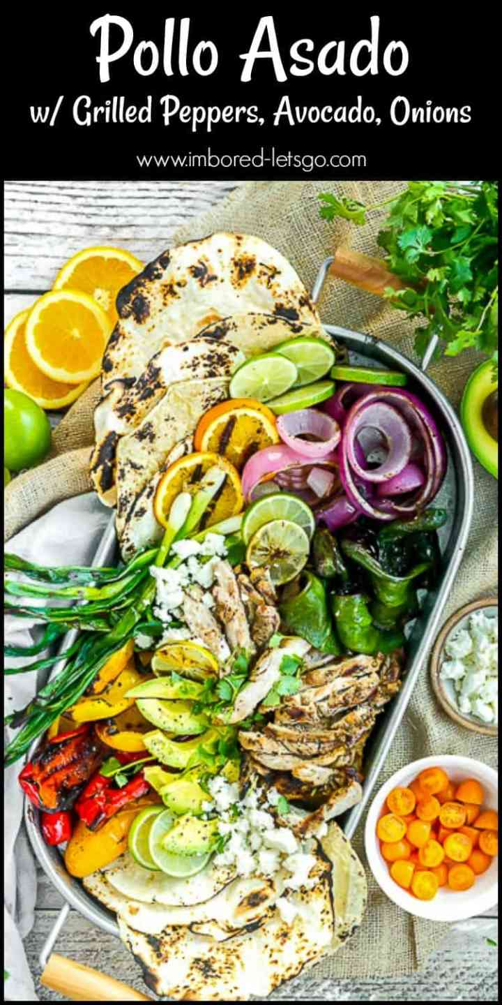 Pollo Asado Tacos - grilled, marinated chicken with colorful peppers, red onion, avocado and other delicious ingredients!