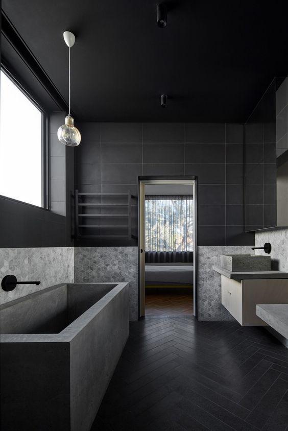 decoración de baño en tonos negros y grises