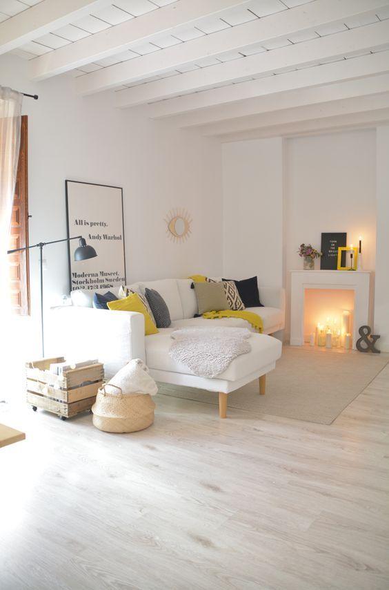 Decoración de tu hogar con estilo Nórdico - salones con chimenea