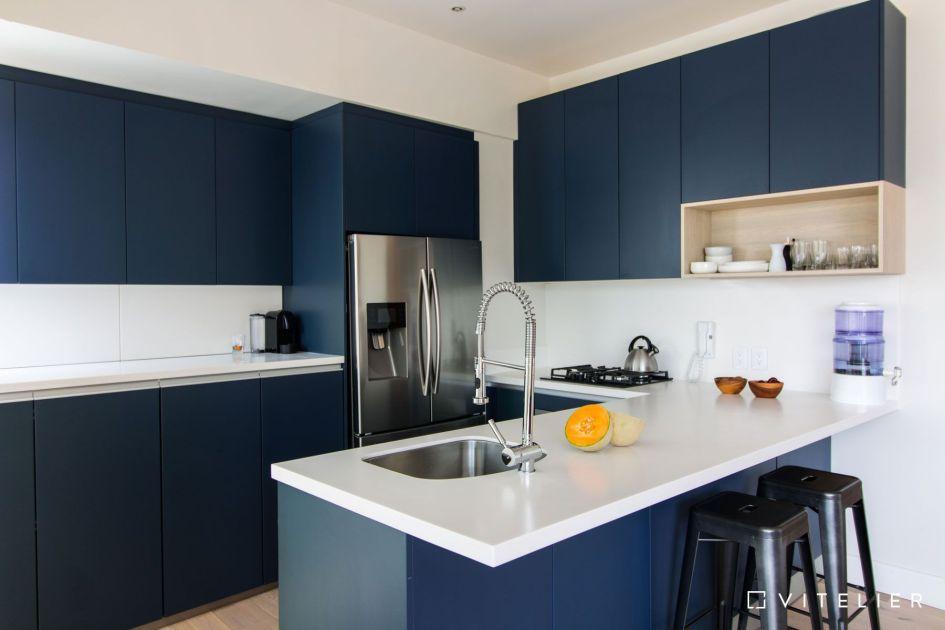 decoración de cocinas pequeñas modernas y elegantes - azul