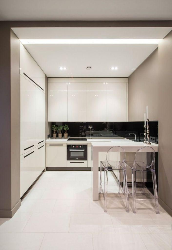 decoración de cocinas pequeñas modernas y elegantes - blancas