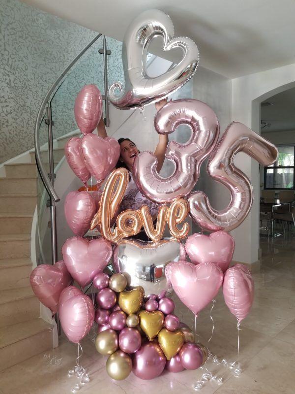 decoración con globos númericos