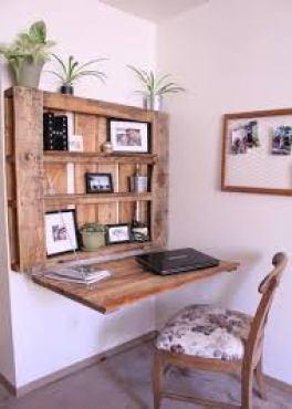 estantería mesa con madera