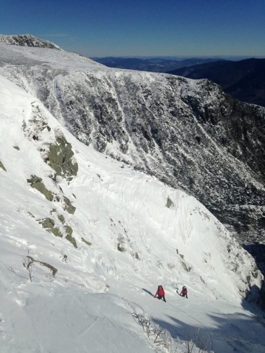 Left Gully in Tuckerman Ravine, great picket belays.