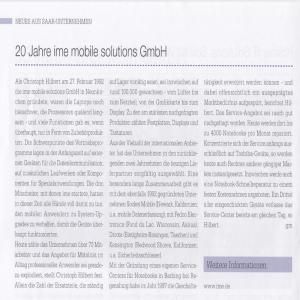 Zeitungsausschnitt Saarwirtschaft 20 Jahre ime
