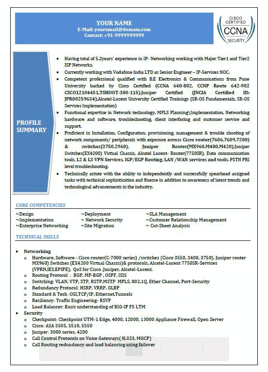 network security resume examples