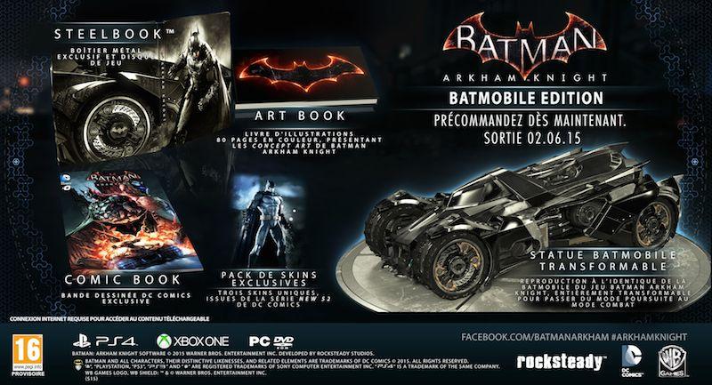 Actualité - Batman Arkham Knight - date de sortie et éditions collector - édition batmobile